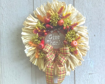 Thanksgiving Fall Wreath* Front Door Grapevine Wreath*  Green Mums, Apples, Pumpkins Gourds Nuts Wreath* Fall Decor* Cornhusks Wreath