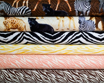 Animal Wild Print Fabric Bundle -  Fat Quarter Bundle - 6 fat quarter pieces (B373)