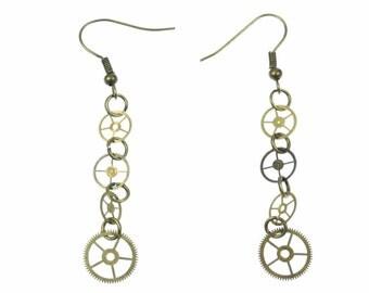 4 gear earrings steampunk watch Upcycling wheels