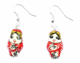 Matryoshka earrings earrings Miniblings Babushka Russian doll porcelain Red