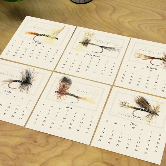 2017 desk calendar, fly fishing desk calendar, dry fly calendar, nymph calendar, Paul Twitchell fly fishing calendar, fisherman gift