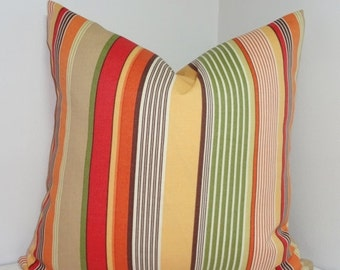 FALL SALE OUTDOOR Stripe Pillow Cover Orange Yellow Green Stripe Pillow Covers 18x18
