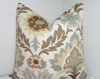 FALL SALE OUTDOOR Pillow Cover Waverly Santa Maria Floral Brown Tan Grey Indoor/Outdoor Pillow Cover 18x18