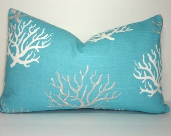 Decorative Pillow Cover Ocean Blue Coral Lumbar Pillow Cover Nautical Blue Coral Lumbar Size 12x18 12x20