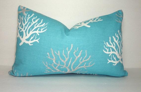 Ocean Blue Decorative Pillows : Decorative Pillow Cover Ocean Blue Coral Lumbar Pillow Cover
