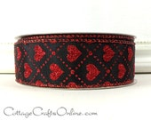 """Valentine Wired Ribbon, 1 1/2"""" Black Satin with Red Glitter Hearts - TWENTY FIVE YARD RoLl - Offray """"Love Some"""" Craft Wire Edged Ribbon"""