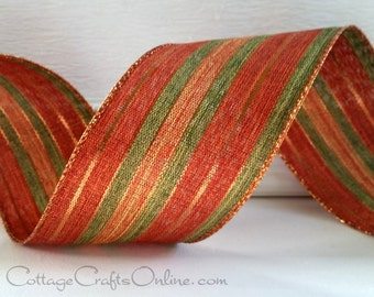 """Wired Ribbon, 2 1/2""""  Copper Striped Metallic, Green Linen Look - THREE YARDS -""""November"""" Fall, Thanksgiving, Wire Edged Ribbon"""