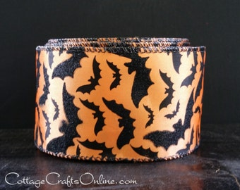 "Halloween Wired Ribbon,  2 1/2""  wide, Black Glittered Bats on Orange Satin - TEN YARD ROLL  -  ""Bat Skies"" Wire Edged Ribbon"
