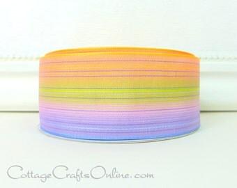 "SALE! Ombre Wired Ribbon, 2 1/2"" wide, Peach, Green, Pink, Lavender Striped Batiste - Twenty Five yard Roll -  ""Dahlia""  Wire Edged Ribbon"