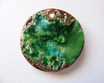 Green Planet Earth Pendant Earthenware Clay