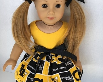 18 inch doll dress from Georgia Tech Fabric (Gold Bodice), made to fit 18 inch dolls such as American Girl and similar 18 inch dolls