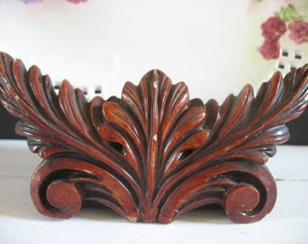 Vintage Ornate Wooden Plate Holders - Pair