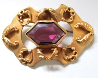 Antique Sash Pin Brooch Amethyst Gilded Victorian 3 Inches Long