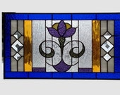 Arts and crafts stained glass panel window flower stained glass window panel window hanging flower craftsman style Art Deco Home Decor 0102