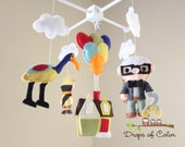 UP Mobile, Baby Mobile, Baby Crib Mobile, Nursery Inspired by Disney UP, House Balloons Nursery Decor, Carl, Russell, Dog Dug.