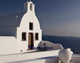 Santorini Travel art - Greece seascape - Greek Islands Photo- Mediterranean Home Decor - Wanderlust art - Blue dome Greece - summer Travel