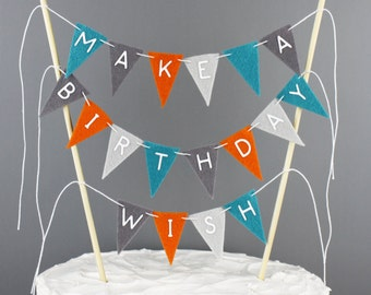 Birthday Wish Cake Banner Sign, Boy's Birthday Cake Topper Bunting, Orange, Turquoise and Grey Lettered Make a Birthday Wish Centerpiece