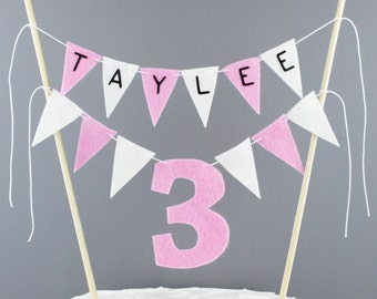 Personalized 3rd Birthday Cake Bunting Banner, Pink and White Number 3 Cake Topper, Custom Birthday Cake Centerpiece