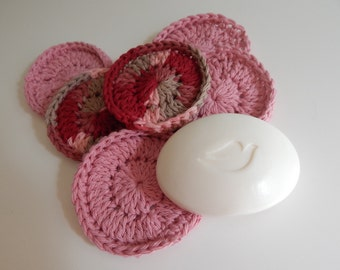 Spa Face Scrubbies - Crochet in Pink Mauve Burgundy - Set of 6