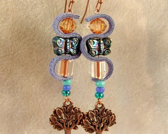 Leather, Glass, and Metal Earrings - LE47