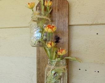 mason jar decor. Wall decor. Home accents. Rustic wood, Wood wall sconce