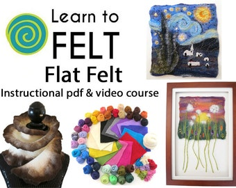 Learn To Felt Flat Felt, Felting Course, Wet Felting, Needle Felting, How To Felt, Felting Tutorial, Felted Ruffle Scarf, Felted Picture