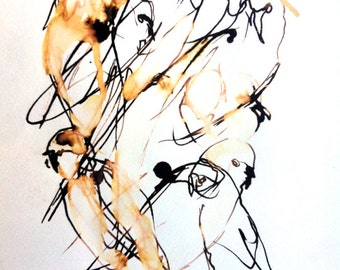 face in the crowd ORIGINAL ART birds watercolour ink painting