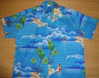 Mens Vintage 70s Sailing Palm Hawaii Hawaiian Shirt - XXXL 3XL -  The Hana Shirt Co