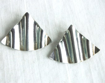 Triangle Post Earrings Mexican Sterling Silver Statement Jewelry Vintage Pierced Posts Crimped Fans Taxco Mexico