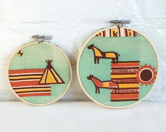 Mid Century Southwestern Wall Hanging Set Vintage Fabric 5 and 4 Inch Embroidery Hoops Southwest Wedding Decor