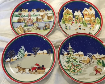 Vintage Christmas Plates - Vintage Home Decor - Cookies for Santa Scenic Dishes