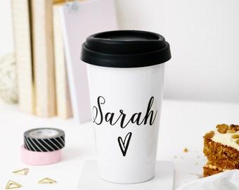 Personalised Monochrome Name Travel Mug