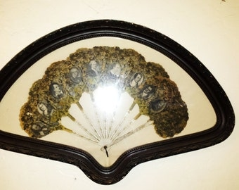 Antique Rare Victorian Framed Lithograph Paper Fan of Famous Authors