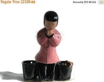 Valentine SALE Mid century Ceramic pink and black Chinese Girl Praying Toothpick Holder