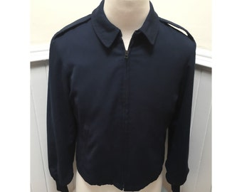 Vintage 1970s Military Style Navy Jacket with Lining & Epaulets - 16L/M