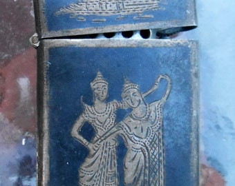 Vintage Sterling Siam Asian Etched Lighter