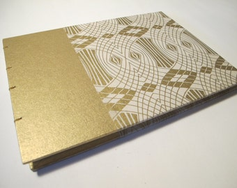 Large Art Deco Wedding Guest Book Ivory and Gold: Cream and Metallic Gold Coptic Guestbook