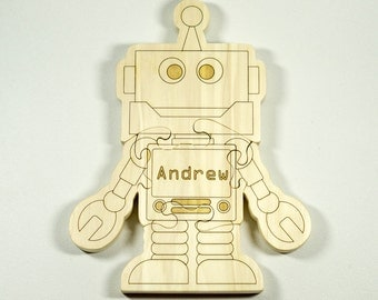 Wooden Puzzle Robot Shaped Personalized for Boys and Girls