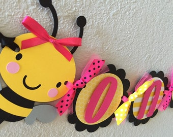 Bumble Bee Birthday Party High Chair Mini Banner - Bee Pink - Bee Party Decorations - First Birthday - High Chair Banner Garland