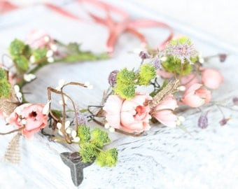 Tie Back Floral Crown, Halo, Maternity crown, Floral wreath, Pink floral Wreath, Rustic Flower Girl