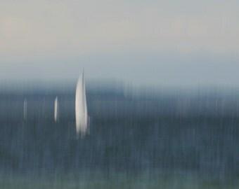 Sailboats Abstract Photo, Sailboats on the Sound, Seascape, Beach decor, Home decor, Wall decor, Seacoast decor, Dreamy, Minimal