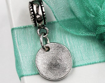 Fingerprint European Charm Bead Big Hole Story Bead Bail for Bracelet Necklace Pendant Gift for Her Mother's Day Bridal Jewelry