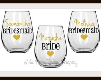 8 Bridesmaid Bride Maid of Honor Stemless Wine Glasses Personalized Wedding