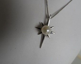 Necklace & pendant, pearl, sterling silver, vintage.