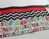 Classroom Apron- ABCs (red & black)