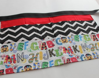Classroom Apron- ABCs (red & black)