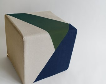 Cube/Pouf Ottoman/Floor Pouf/Ottoman/Geometric/Grey/Navy Blue/Green/Urban/Prism/Modern/Floor Pouf/Unique/Nursery Pouf/ Zigzag Studio Design