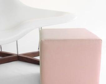 Pink Pouf/Ottoman/Minimalistic /Blush Pink /Modern Floor Pouf /Blush Rose/ Unique Side table/ Foot Stool /Zigzag Studio Design