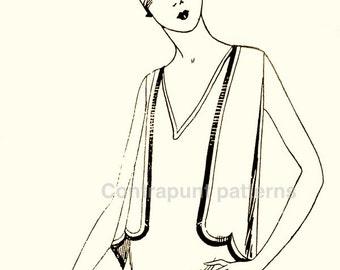 1920s vintage V-neck line dress sewing pattern. Scalloped vest and double skirt.