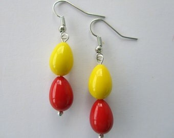 Red and Yellow Tear Drop Dangling Earrings